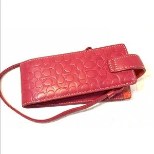 Bright Pink and Orange Coach Leather Small Pouch